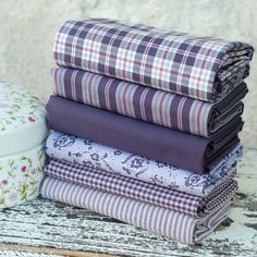 Fat quarter fabric bundle in rich Damson, Plum, Purple, Pink - 100% cotton stripes, checks, floral - quilt patchwork doll toy cushion craft