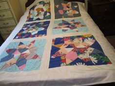 """Vintage Handmade Quilt - 60"""" x 83"""" - Scrappy Star Pattern From Knit Fabrics"""