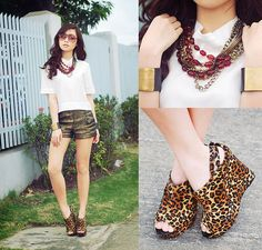 #top #shorts Clothes Off Scuba Top, Oh My Frock Gold Shorts, Holic Bead Necklace, Ffaq Leo Wedges