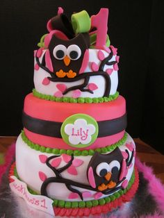 Lily's Whooos 1 - This cake was done to match the decor of the party.  All fondant.  I hand cut and assembled the owls.  I LOVE this cake.!!!!
