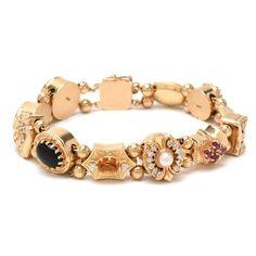 329243f36d6 Vintage 14K Yellow Gold Diamond and Gemstone Slide Charm Bracelet Emerald,  Gemstone, Sapphire,