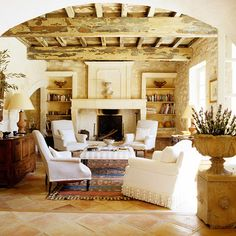 Gorgeous Living Room! Love the Beautiful Rustic Ceiling, the cottage chic decor.....Beautiful!