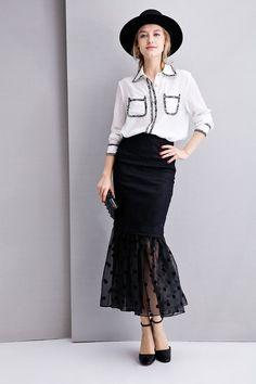 #AdoreWe Few Moda, Minimalistic Fashion Brands Online - Designer Few Moda Denim Polka Dots Sheer Skirt SK0125 - AdoreWe.com