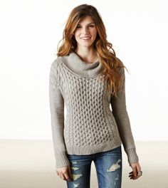 Cabled Hi-Lo Sweater in Brown Heather, Gypsy Rose or Charcoal $36