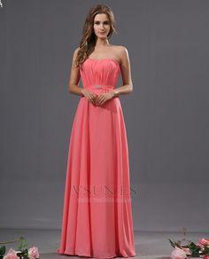 Vestido de dama de honor Sin tirantes Fuera de casa Broche de cristal Elegante