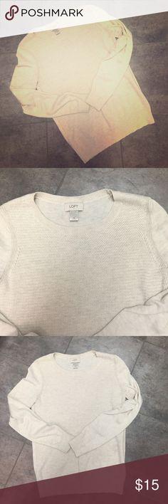 Loft cream sweater Super soft, waffle texture on front. LOFT Sweaters Crew & Scoop Necks