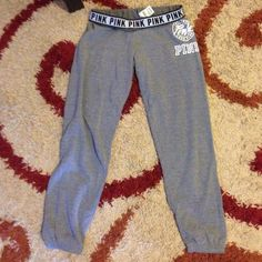 VS PINK Cropped Sweats -Like New! Victoria's Secret PINK Cropped Capri Sweats. EUC!! Only wore once! No stains! No holes! Like new condition. Size Small. PINK Victoria's Secret Pants Ankle & Cropped