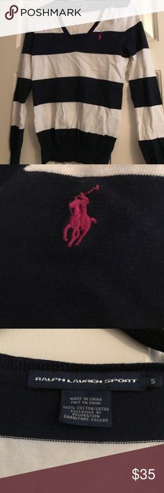 Blue and white stripe Polo sweater Only worn once Polo sweater amazing condition Ralph Lauren Sweaters V-Necks