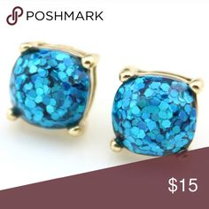 blue glitter earrings Look just like the kate spade ones at a fraction of the price! Jewelry Earrings