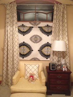 Yellow Gray Roman Shade and Curtains. I want to paint the side table gray.