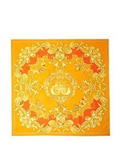 Versace Women's Patterned Silk Scarf, Orange/Gold