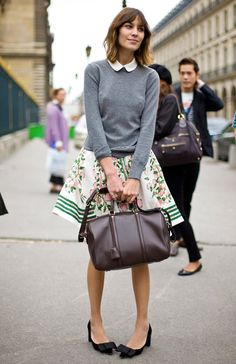 pointy. bows. flats. Alexa with Charlotte Gainsbourg bag, Peter Pan collar, flared skirt, sweater, messy hair... really good!