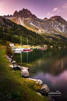 Boats on Silsersee - Maloja, just south of St. Moritz, Switzerland.