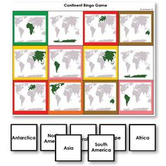 Continent Identification Bingo Game with World Map Images