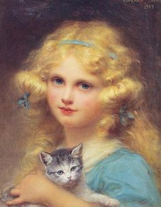 "Edouard Cabane (French, 1857-1942) - ""Portrait of a young girl holding a kitten"""
