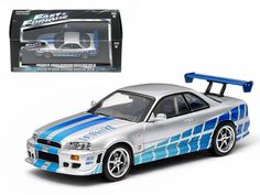 """1999 Nissan Skyline GT-R """"2 Fast 2 Furious"""" Movie (2003 ) 1/43 Diecast Car Model by Greenlight - Rubber tires. Brand new box. Limited Edition. Detailed interior, exterior. Comes in plastic display showcase. Dimensions approximately L-5 inches long.-Weight: 1. Height: 5. Width: 9. Box Weight: 1. Box Width: 9. Box Height: 5. Box Depth: 5"""