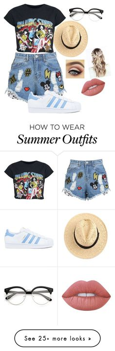 """Tumblr summery outfit"" by kaley276 on Polyvore featuring Disney Stars Studios, adidas and Lime Crime"