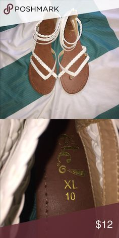 White crisscross sandals Great condition only worn a couple times Shoes Sandals