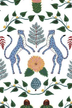 Fun wallpaper design featuring Cheetahs, cactus and trailing flowers and leaves.
