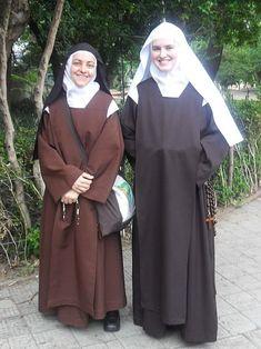 Nun and novice discalced Carmelites in Porto Alegre Brazil (during \\papal visit/)