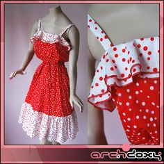 Vintage 1970s Cute Abigails Party Frilled Red & White Polka Dot Sun Dress…