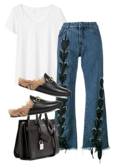 """Untitled #2231"" by sarah-ihab ❤ liked on Polyvore featuring Gap, Marques'Almeida, Gucci and Yves Saint Laurent"