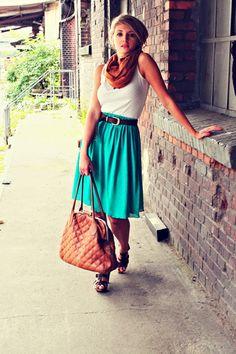 White Tank + Turquoise/Teal Midi Skirt + Dark Brown Belt + Sandals + Scarf