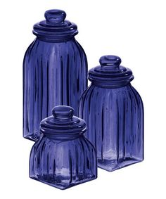Purple Glass Jar Set by Evergreen Enterprises.I am crazy for colored glass, especially this gorgeous purple which you hardly ever see! Purple Stuff, Purple Love, All Things Purple, Purple Glass, Shades Of Purple, Deep Purple, Purple Candy, Cobalt Glass, Purple Hues