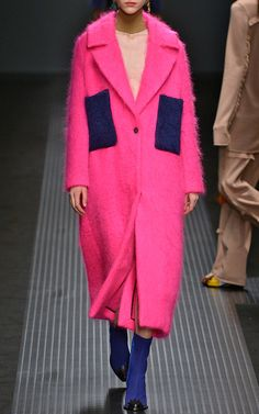 Pink Mohair Coat With Royal Blue Pockets by MSGM for Preorder on Moda Operandi