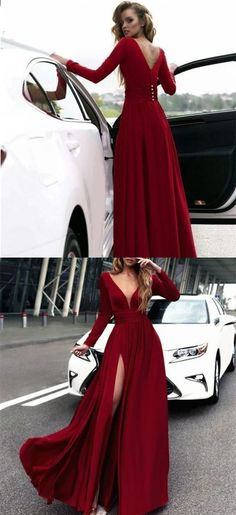 A-Line Deep V-Neck Long Sleeves Burgundy Prom Dress with Split 0228 by RosyProm, $145.99 USD