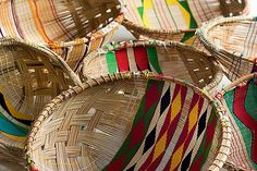 Baskets weaved by native Xingu brazilian indians