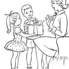 Children On Mothers Day Gift Giving Coloring Page For Kids