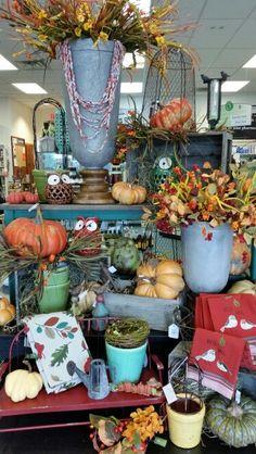 Fall Display-McFarland Autumn Displays, Booth Ideas, Planter Pots, Store, Fall, Autumn, Fall Season, Larger, Shop