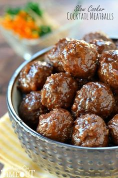 These Slow Cooker Cocktail Meatballs are made with just three ingredients! Guaranteed to be a hit at your next party!