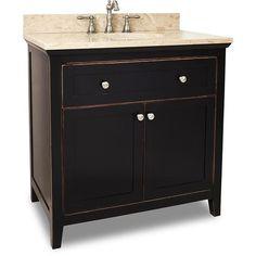 Hardware Resources Chatham Shaker (single) 36-Inch Aged Black Transitional Bathroom Vanity