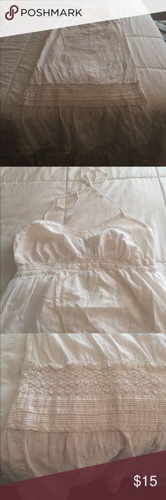 White Maxi dress White Old Navy maxi dress. Has halter ties around the neck. Has crochet, ruffled detailing near the bottom. Old Navy Dresses Maxi