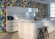 Moderne Tapete für Küche mit geometrischem Muster