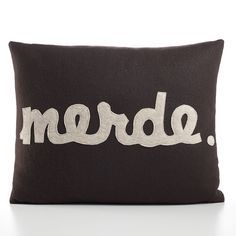 MERDE cocoa and oatmeal recycled felt applique pillow 14x18inch. $99.00, via Etsy.