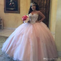 Plus Size Pink Girls Quinceanera Dresses Spaghetti Straps Corset Back Sparkly Sequins Crystals Tulle 2017 Sweet 16 Prom Birthday Party Gowns Quinceanera Dresses Plus Size Prom Dresses Online with $152.0/Piece on Sweet-life's Store | DHgate.com