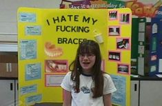 I hate my fucking braces Funny Science Fair Projects Science Fair Posters Fake Science Fair Projects Worst Tattoos Hilarious Strange Classroom projects awkward family photos Winning Science Fair Projects, Science Projects, Expo Sciences, Braces Humor, Science Humor, Funny Science, Forensic Science, Brace Face, Bad Tattoos