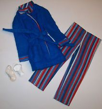 Vintage Ken Wide Awake Stripes Pajamas PJ's Pak #3377 Robe & Sandals Barbie 1972