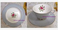 #RoyalDoulton #Chateau #Rose Grey & Red #English #England Porcelain, #Vintage #Designer Signed #FineBoneChina #China