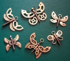 Butterfly pendants from old clock gears, screws and wires New brass, copper and stone pendants (Added more pictures!)