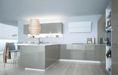High resin gloss cabinets and uppers with hidden lighting