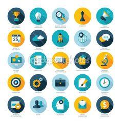 Insieme delle icone di design piatto per Business, Seo e Social media marketing
