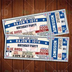 Toronto Blue Jays Sports Party Invitation, Sports Tickets Invites, Baseball  Birthday Theme Party Template By Sportsinvites