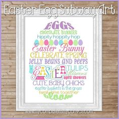 With bright Spring and Easter colors, this fun EGG-SHAPED Subway Art will make a great print for your wall or is a perfect gift for an