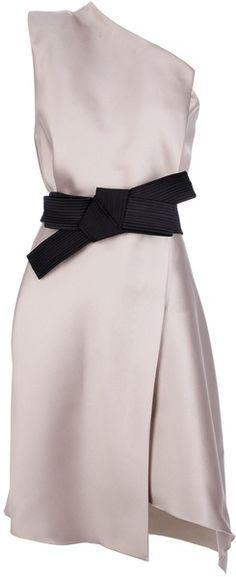 Lanvin One Shoulder Bow Dress in Gray (grey) | Lyst
