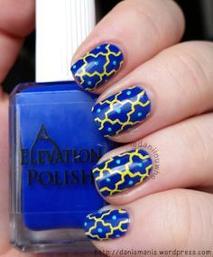 Blue and Yellow Moroccan Inspired Nails