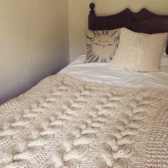 Knitting Pattern - Chunky Cable Knit Throw Knitting Pattern - How to Make a Chunky Cable Knit Blanket by SarahJaneSeamstress on Etsy